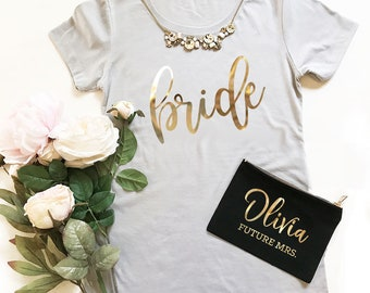 Bride Shirt Bachelorette Bride to be Shirt Bride Shirt Rose Gold Bride Tshirt Bride T Shirt (EB3249BP) FITTED SHIRTS