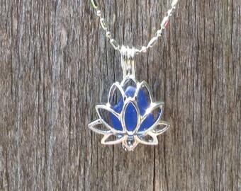 Sea Glass Lotus Flower Locket Cobalt Blue by Wave of LIfe™