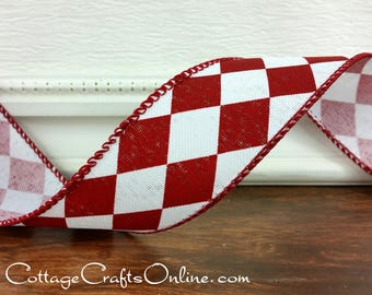 "Christmas Wired Ribbon, 1 1/2"" , Red and White Diamond  - THREE YARDS - Offray ""Christmas Harlequin"" Valentine Wire Edged Ribbon"