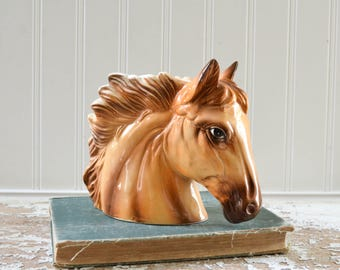 Vintage Horse Head Planter Ceramic Vase - Rustic Western Decor