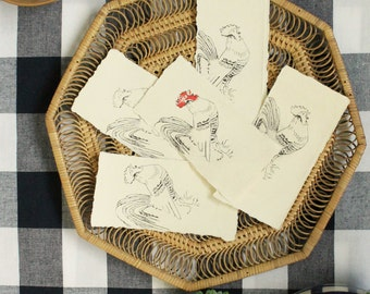Mini etchings for the year of the rooster / handprinted bookmark / french rooster
