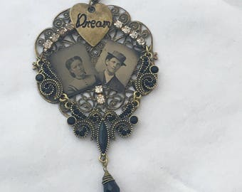 Altered Assemblage Necklace Genuine Gem Tintypes Dreamers couple