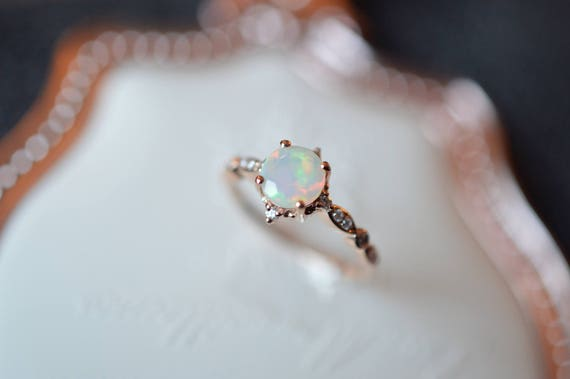 hand engagement with opal products ring rings crown on artemer white diamonds