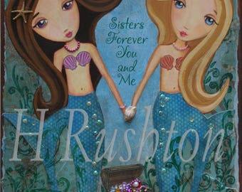 Mermaid Art -  Mermaid Print on Canvas - Canvas Art for Kids - Sisters Art - Mermaid Decor- Any Size on Canvas You Pick