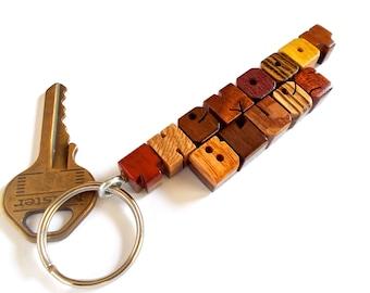 Exotic Mix Wood Custom Sampler, 2-Liner Keychain on Walnut, Carved to Order