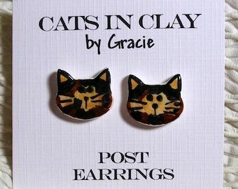 Tortie Cat Post Earrings Stud Earrings Handmade In Kiln Fired Clay by Gracie