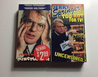 Lot of 2 Jerry Springer - Too HOT FOR TV! (vhs, 1998, R-rated box art)