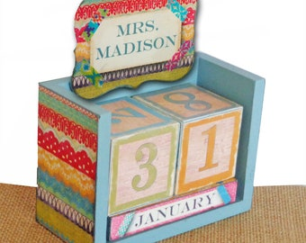 Personalized Calendar Wood Block Perpetual with Washi Tape