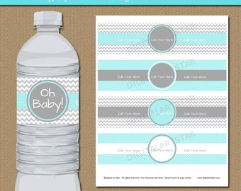 Boy Baby Shower Party Decorations - Aqua Grey Chevron Water Bottle Labels Printable Baby Shower Water Bottle Wraps Boy Birthday Decorations