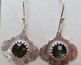 Faceted laboradorite and sterling silver earrings