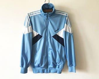 Vintage Blue ADIDAS Jacket Running Adidas Track Jacket Light Blue Jogging Parka Aerobics Jacket Hipster Sport Coat Three Stripes Size Large