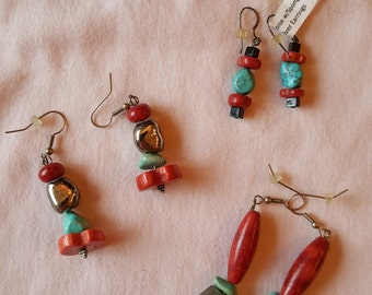 SOUTHWEST TURQUOISE & RED Sponge Coral with Silver Earrings Great Gift Unique