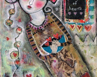 Special Price Mixed Media Painting Collage Print  Modern Folk  Heart