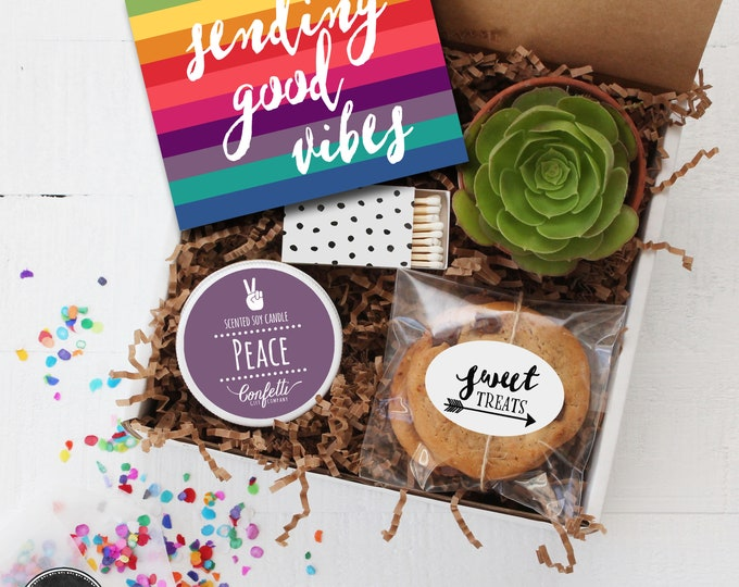 Sending Good Vibes Gift Box - Thinking of You Gift | Peace Candle | Friend Gift | Get Well Gift | Best Friend Gift |Gift For Her