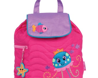 Personnalisé Stephen Joseph bambin matelassé méduse sac à dos, monogramme enfants sac à dos, sac à dos pour enfants d'âge préscolaire sac à dos