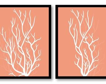 Peach Coral Nautical Print Ocean Marine Set of 2 Art Prints Bathroom Print Home Wall Decor Beach House