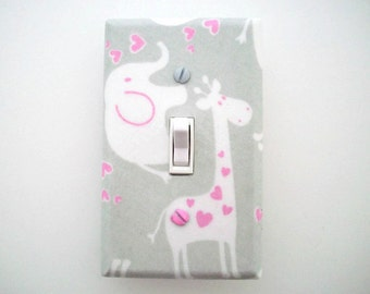 Giraffe Light Switch Cover - Elephant Switch Plate - Girls Grey Pink Nursery Decor - Giraffe Girls Room - Girls Elephant Nursery