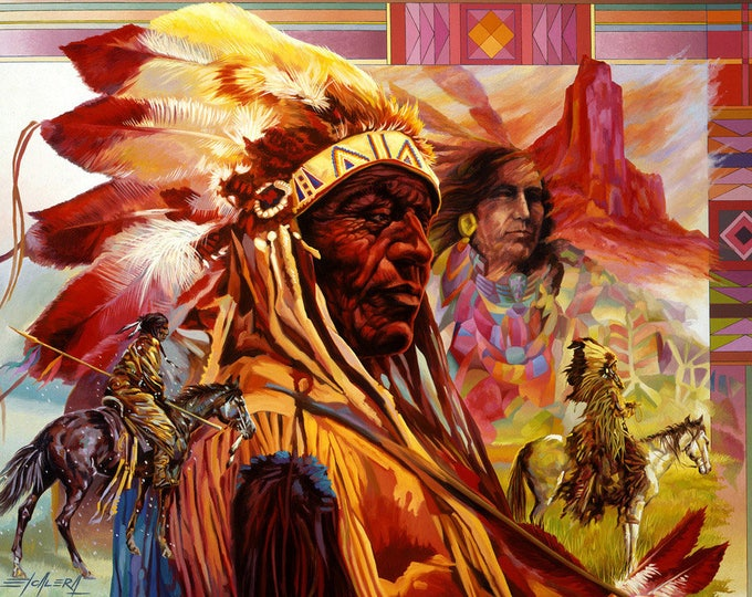 Featured listing image: Great American Chief // Giclee on Canvas