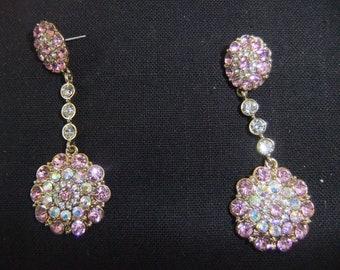 Vintage Earrings - Pink Stone Earrings - Stud Earrings