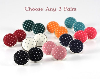 Stud Earrings - Choose Any Three Pairs Polka Dots Earring Posts, Handmade Fabric Covered Button Jewelry Bridesmaids, Red Blue, Black, Orange