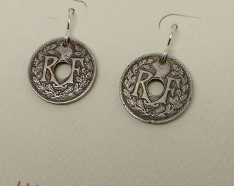 Vintage French coin earrings hand made from real French matched coins