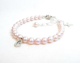 Pink Pearl Personalized Bracelet for Newborn Infant Baby Little Girl - Baby Girl Bracelet - Christening or Baptism Gift -Little Girl Jewelry
