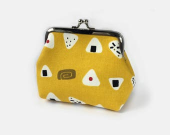 Kisslock Purse Onigiri Sushi Prints- Gamaguchi Japanese Metal Frame Clasp Purse Wallet- Kisslock Cute Gifts for Foodie- Mothers Day Gift