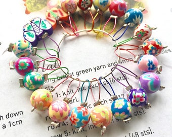 20 Knitting stitch markers fimo flowers