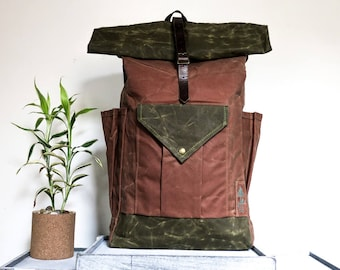 The CREST (Large) waxed cotton canvas backpack // waterproof travel bag // antique brass and leather accents // earth