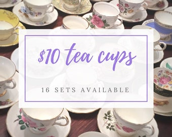 Complete Tea Party Set - Mix and Match Vintage Tea Cups - Mismatched Tea Cups Lot- Bulk Tea Cups- Tea Party-Mismatched Teacups and Saucers