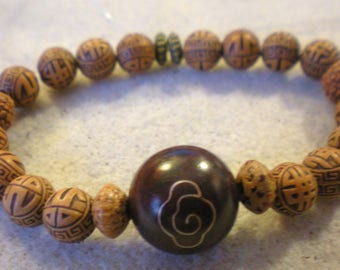 Simple harmony and peace Brown ball with flower Mala BRACELET