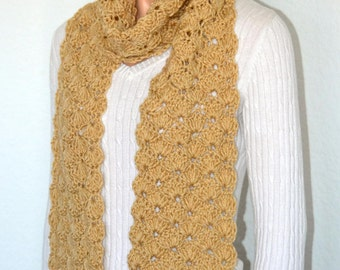 Tan Crochet Shell Scarf/ Spring and Fall Fashion Scarf/ Handmade Shell Scarf/ Summer Fashion Scarf