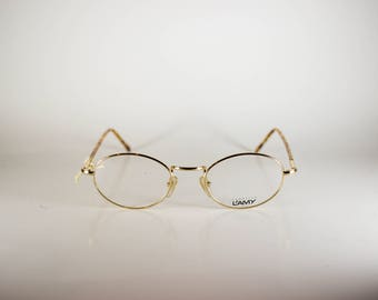 L'Amy Replic BP F Frame C021 Made in France CE Unisex 49-20 -140 Vintage Frames Gold Metal NOS Deadstock - Free Shipping-LAMF232J-1