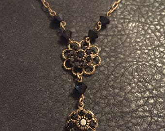 Antique Gold and Crystal Necklace/ Black Crystal Beaded Vintage Necklace