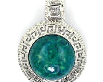 25mm green azurite silver plated coin pendant bead 35378