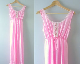 Vintage Pink Nightgown | 1970s Embroidered Summer Nightgown S