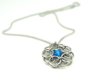 Blue Celtic Knot Necklace Handmade In Chainmaille And Glass Bead
