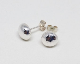 Shiny sterling silver nugget earrings / pebble studs / gift for her / bridesmaid gift