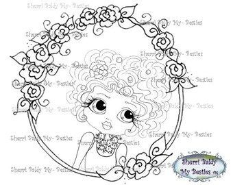 INSTANT DOWNLOAD Digital Digi Stamps Big Eye Big Head Dolls Digi  Bestie In A Flower Frame By Sherri Baldy