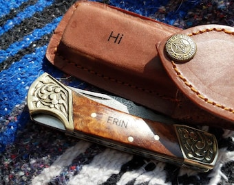 Personalized Knife - KNIFE NOT INCLUDED ,Engraved knife Custom Hand Made Forged Damascus Steel Hunting Bowie Knife Leather Sheath