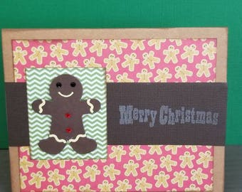 Merry Christmas Gingerbread Man Cards - set of 2/Blank Card/Greetings/Christmas Cards/Cardstock