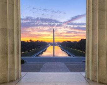 Capital Sunrise, Washington DC Photography - National Mall, Reflecting Pool - Fine Art Print, Washington Monument, Lincoln Memorial Art