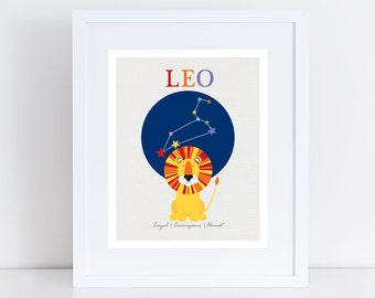 zodiac art nursery print - leo - lion star sign, constellation baby starsign stars space, horoscope art kids room, personalised birth stats