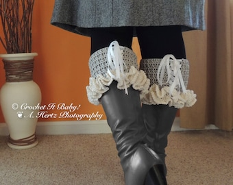 Crochet Lacey Boot Cuffs - 3 Adult Sizes - (PATTERN ONLY)