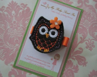 Girl hair clips - haloween owl hair clips - girl barrettes