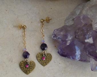 Heart & Amethyst Earrings
