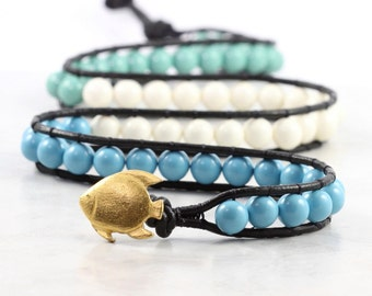 Turquoise Leather Wrap Bracelet Black Leather Jewelry Tropical Fish Bohemian Bracelet Triple Wrap Aqua Blue Green Ivory Mint White Beaded