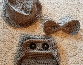 Crochet newborn fedora photo prop, newborn fedora and bow tie set, newborn photo prop, crochet fedora bow tie and diaper cover set