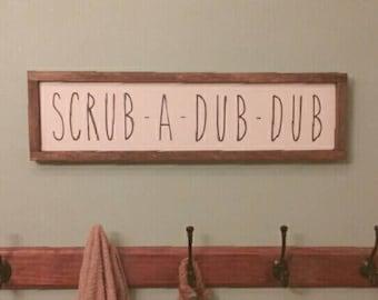 Scrub-A-Dub-Dub Bathroom Sign