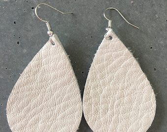 Creamy White Leather Earrings